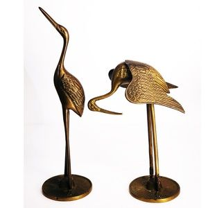Two Matching Vintage Brass Long Legged Birds